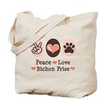 Peace Love Bichon Frise Tote Bag