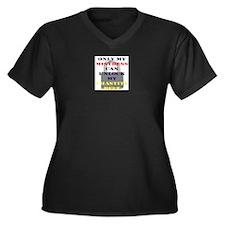 Cute Chastity belt Women's Plus Size V-Neck Dark T-Shirt