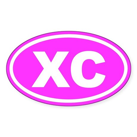XC Cross Country Pink Euro Oval Sticker