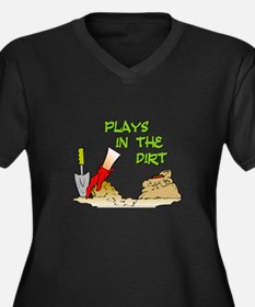 Plays in the Dirt Women's Plus Size V-Neck Dark T-