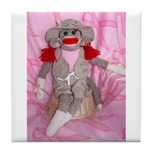 Sock Monkeys for the Cure Pink Ribbon Tile Coaster