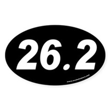 26.2 Oval Sticker (white text on black background)