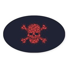 Star Heart Pirate Oval Decal