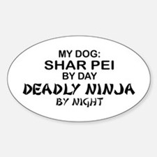 Shar Pei Deadly Ninja Oval Decal