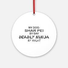 Shar Pei Deadly Ninja Ornament (Round)