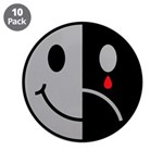 "Happy Face Sad Face 3.5"" Button (10 pack)"