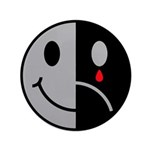 "Happy Face Sad Face 3.5"" Button (100 pack)"