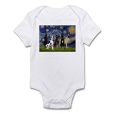 Starry Night & 4 Great Danes Infant Bodysuit