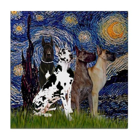 Starry Night & 4 Great Danes Tile Coaster