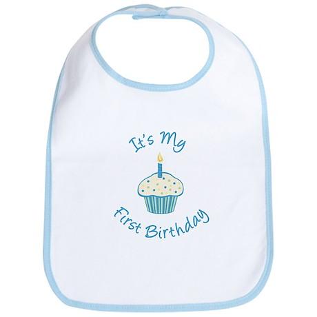 First Birthday Cupcake Blue Bib