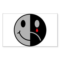 Happy Face Sad Face Rectangle Decal