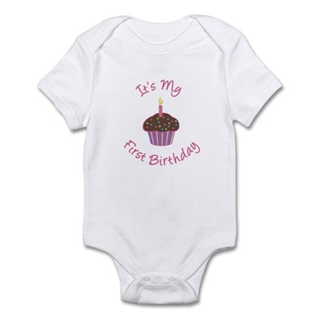 First Birthday Cupcake Pink Chocolate Infant Bodys