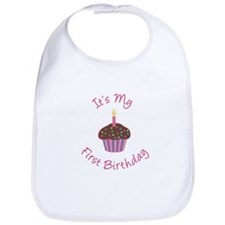First Birthday Cupcake Pink Chocolate Bib