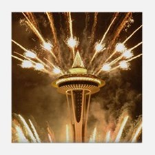 Space Needle Seattle Fireworks Tile Coaster