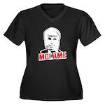 McLame Women's Plus Size V-Neck Dark T-Shirt