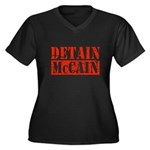 DETAIN MCCAIN Women's Plus Size V-Neck Dark T-Shir