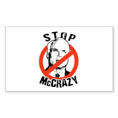 Anti-McCain: Stop McCrazy Rectangle Decal