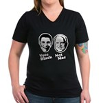 Vote Black. Not Mac. Women's V-Neck Dark T-Shirt