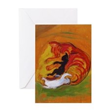 Cat with Kittens Greeting Card