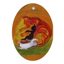 Cat with Kittens Oval Ornament