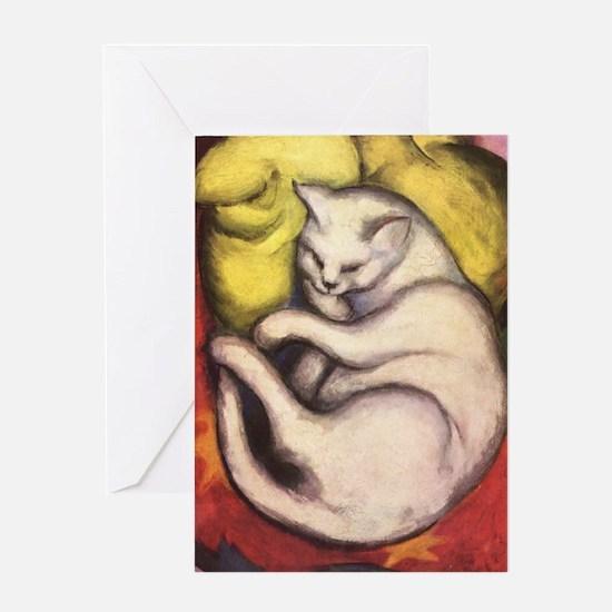 Cat on a Cushion by Franz Marc Greeting Card