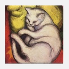 Cat on a Cushion by Franz Marc Tile Coaster