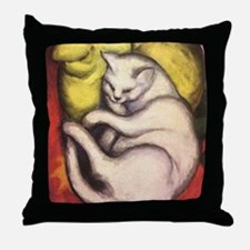 Cat on a Cushion by Franz Marc Throw Pillow