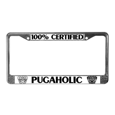 Pugaholic License Plate Frame