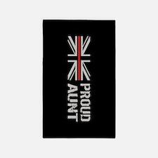 British Flag Red Line: Proud Aunt (Black) Area Rug