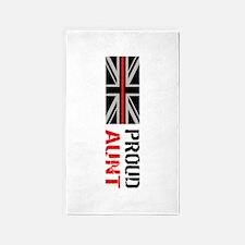 British Flag Red Line: Proud Aunt (White) Area Rug