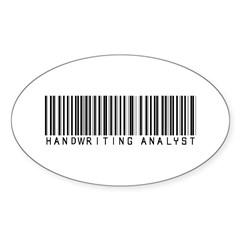 Handwriting Analyst Barcode Oval Decal