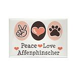 Peace Love Affenpinscher Rectangle Magnet (100 pac
