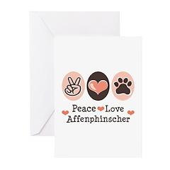 Peace Love Affenpinscher Greeting Cards (Pk of 10)