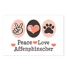 Peace Love Affenpinscher Postcards (Package of 8)