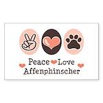 Peace Love Affenpinscher Rectangle Sticker