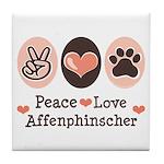 Peace Love Affenpinscher Tile Coaster