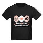 Peace Love Affenpinscher Kids Dark T-Shirt