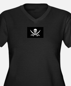 Calico Jack Women's Plus Size VNeck Dark TShirt