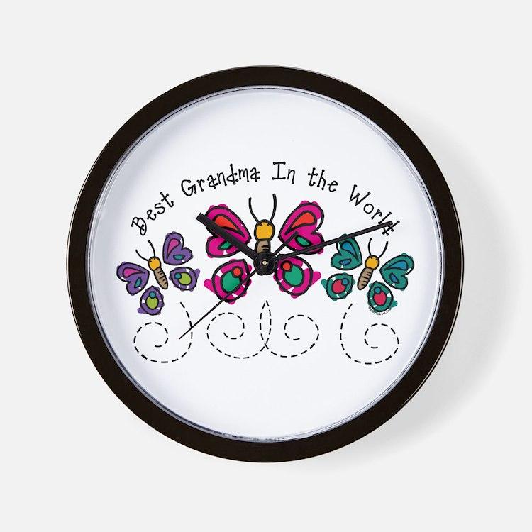 Butterfly Best Grandma Wall Clock