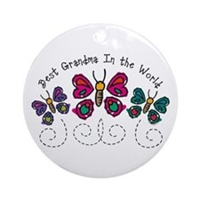 Butterfly Best Grandma Ornament (Round)