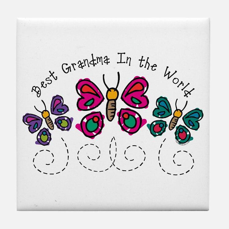 Butterfly Best Grandma Tile Coaster