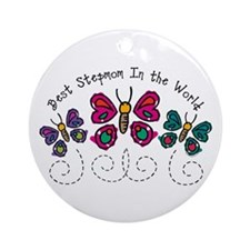 Butterfly Best Stepmom Ornament (Round)