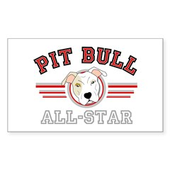 Pit Bull All-Star Red Rectangle Decal