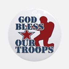 God Bless Our Troops Ornament (Round)