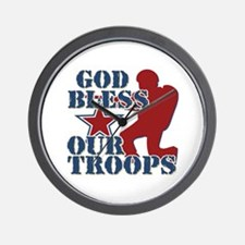 God Bless Our Troops Wall Clock