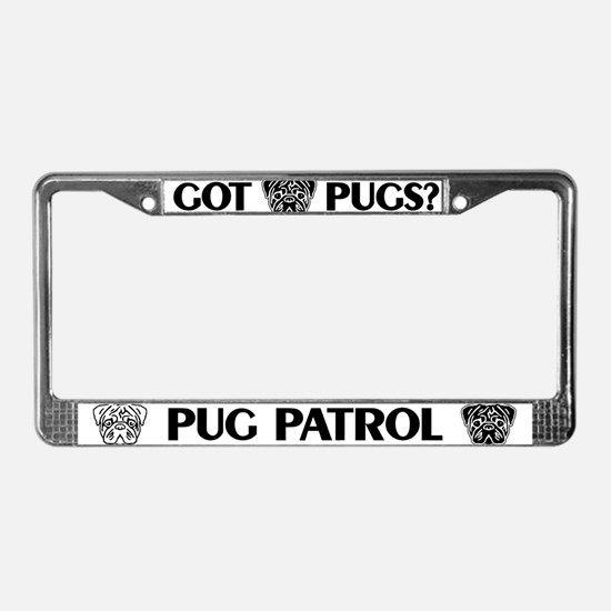 Pug Patrol-Black-License Plate Frame