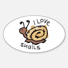 I Love Snails Oval Decal