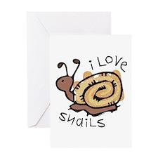 I Love Snails Greeting Card