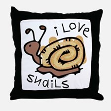 I Love Snails Throw Pillow