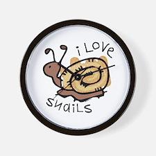 I Love Snails Wall Clock